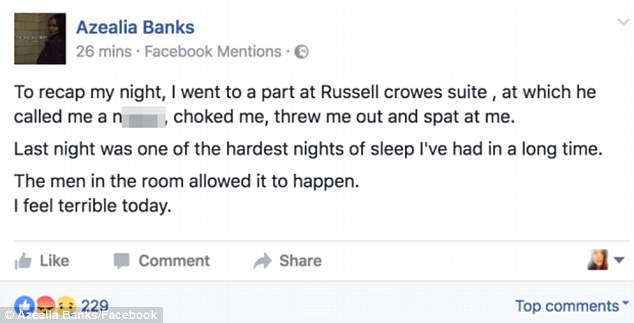 azelia banks twitter Azealia Banks and Russell Crowe allegedly get into altercation during private dinner party