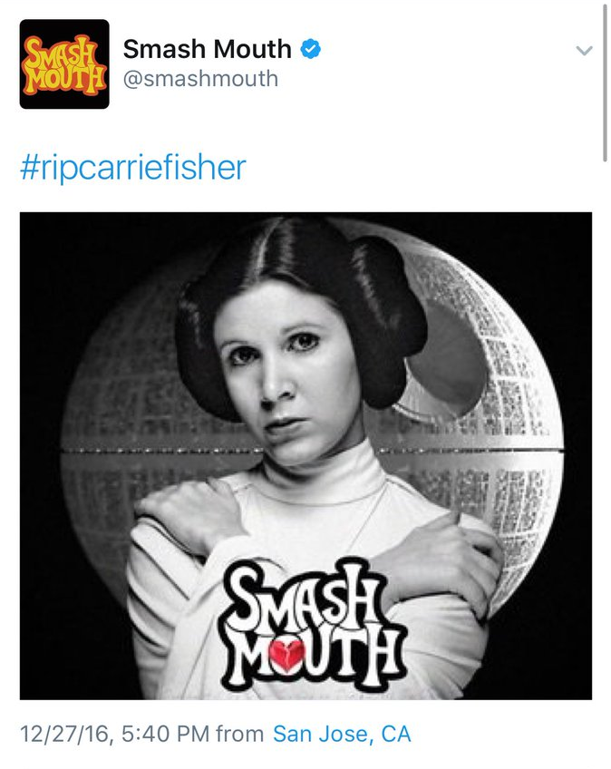 screenshot 2016 12 28 at 12 23 13 pm Smash Mouth, truly the worst, slap their dumb logo on Carrie Fisher tribute