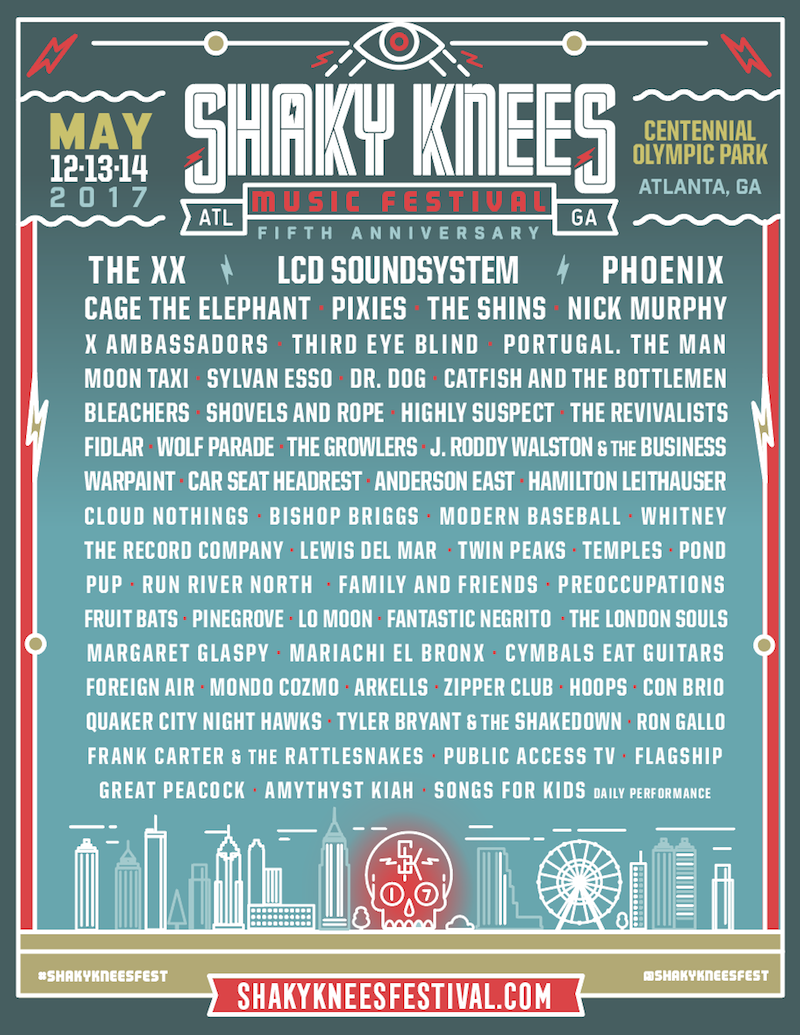 knees 2017 lineup poster Shaky Knees reveals 2017 lineup: The xx, LCD Soundsystem, Phoenix, and more