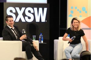 Scott Aukerman and Tatiana Maslany, photo by Heather Kaplan