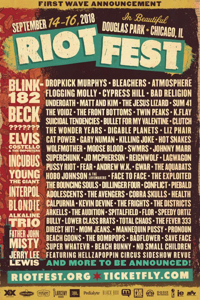 Riot Fest 2018 lineup poster
