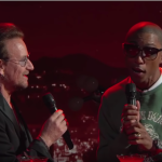 Pharrell and Bono Bee Gees Kimmel