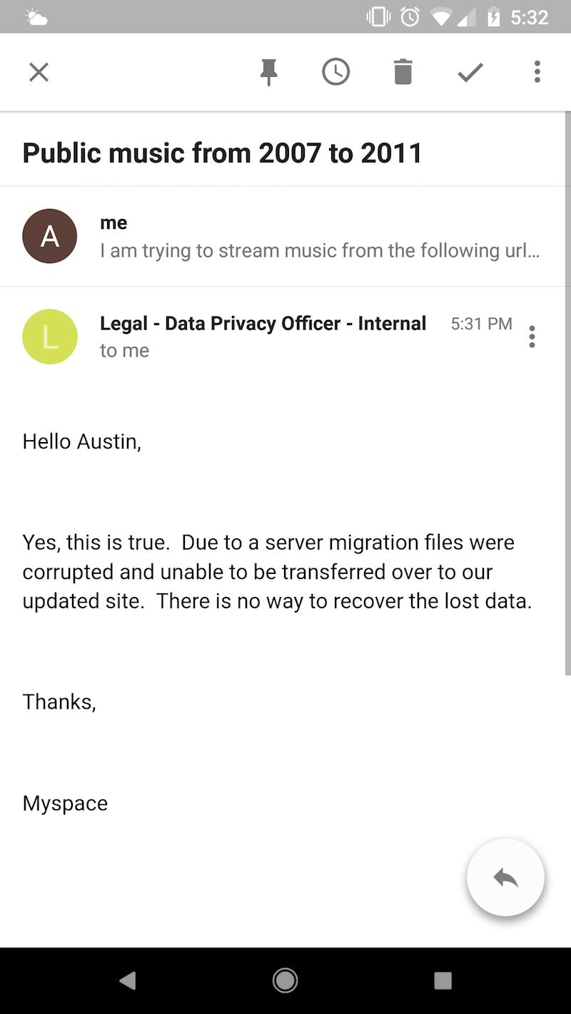 myspace loses music files uploaded