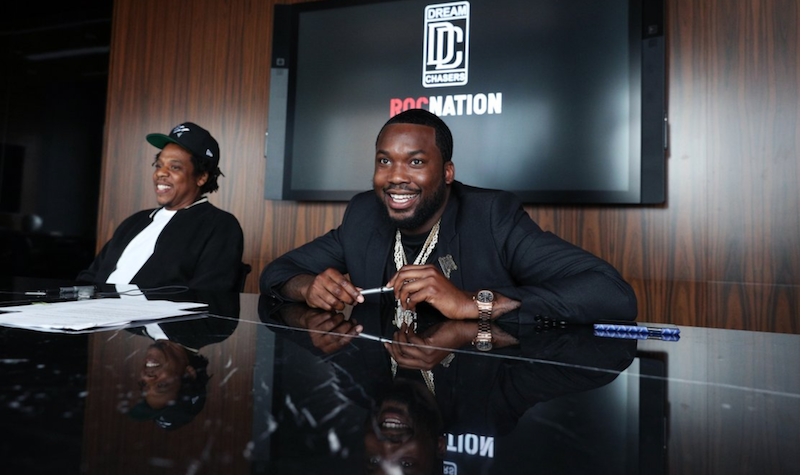 JAY-Z and Meek Mill, photo via Dream Chasers:@DreamChasters gun conviction thrown out overturned felon probation retrial