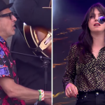 Jeff Goldblum and Sharon Van Etten at Glastonbury 2019 Jurassic Park Theme Let's Face the Music and Dance watch