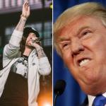 Eminem (photo by Natalie Somekh) and President Donald Trump secret service freedom of information investigation interview the ringer