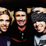 Foo Fighters' Dave Grohl and Taylor Hawkins with Chad Smith of Red Hot Chili Peppers