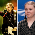 response climate change denier quote brainwashed sex god clapback Meat Loaf (photo via artist's Facebook) and Greta Thunberg (photo via Flickr/European Parliament)