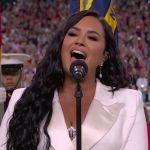 Demi Lovato performs at the 2020 Super Bowl