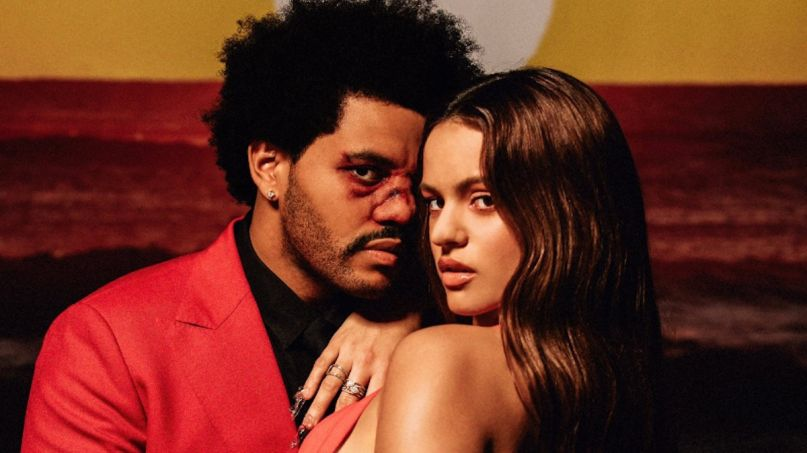 The Weeknd Blinding Lights remix Rosalía new song stream The Weeknd and Rosalía, photo via Twitter